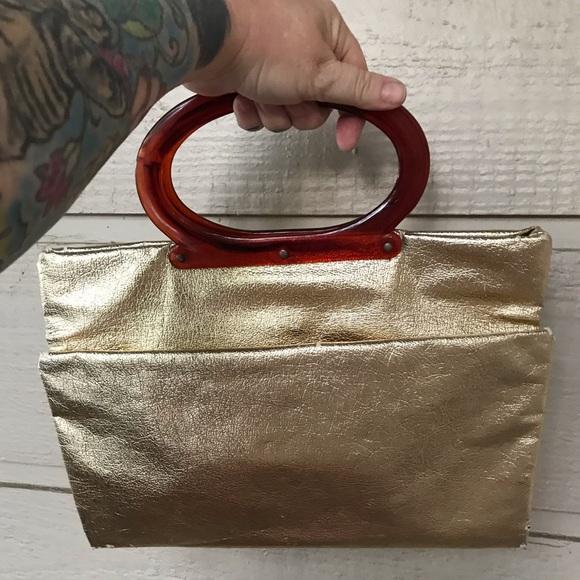 Vintage Handbags - Vintage disco gold lamé adjustable clutch bag